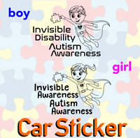 Autism Awareness sticker - superhero invisible disability girl boy car
