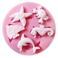 Under The Sea Set, Starfish,Fish, Crab, Dolphin,Seahorse Silicone Mould