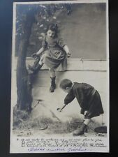(4) Shows Little Boy taking a Pie or Pasty from a Little Girls c1903 RP 110515