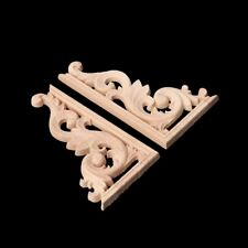 1Pair Wood Carved Corner Onlay Applique Frame Decor Furniture Craft Unpainted