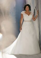 Organza Plus Size Cap Sleeve Wedding Dresses