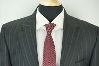 Hickey Freeman Madison Gray Blue Striped 100% Wool 2 Piece Suit Jacket Pants 41R