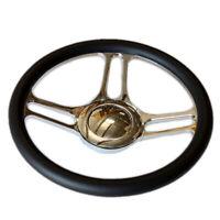 "14"" (350mm) Chrome Billet Aluminum Steering Wheel (9 Bolt) & Smooth Horn Button"