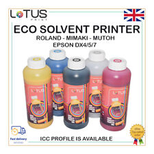 Eco Solvent Ink Roland, Mimaki, Mutoh, Epson DX4/5/7 (CMYK & Cleaning Solution)