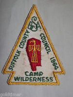 VINTAGE BSA BOY SCOUT PATCH 1964 SUFFOLK COUNTY COUNCIL CAMP WILDERNESS