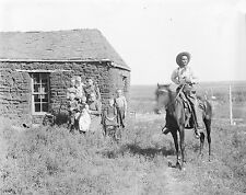 "1901 Photo, COWBOY w Family, Cabin, Horse OLD WEST, 16""x13"" Print, NEBRASKA"