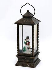 Sigro LED Laterne mit Schneemann 28 cm Acryl mit Glitterwirbel 540062SM