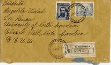 Argentina Scott 435, 439 On Registered 1942 Cover to Chapel Hill, North Carolina