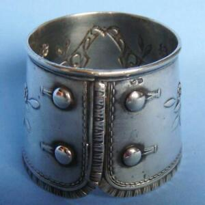 SUPERB Antique Art Nouveau Flowers Sterling SILVER Buttons Cuffs Napkin Ring!