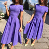 Summer Women Casual Below Knee Round Bodycon Neck Short Sleeve Long Dresses S~XL