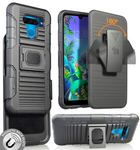 Black Rugged Grip Case Cover Stand + Belt Clip Holster Holder for LG K50, Q60