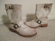 FRYE Veronica Cracked White Leather Buckle Boots Size 9.5