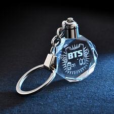KPOP BTS Fans Gift Bangtan Boys Rap Crystal Collection LED Keychain Keyring