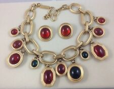 YVES SAINT LAURENT RIVE GAUCHE GRIPOIX SET OF COLLIER NECKLACE AND EARRINGS