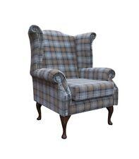 High Back Armchair Blue Tartan Fabric Wing Chair Queen Anne Fireside Living Room