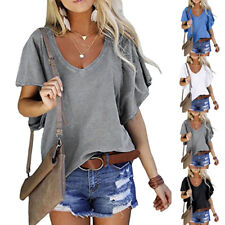Women Summer Short Sleeve V Neck T Shirt Casual Solid Blouse Loose Beach Top Tee
