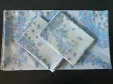 Blue Floral 60s 70s Vintage Retro Double Bed Sheet & Pair Matching Pillow Cases