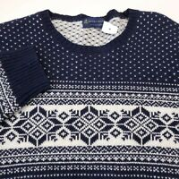 Brooks Brothers Winter Holiday Wool Crew Neck Sweater Mens XL Blue & White NEW