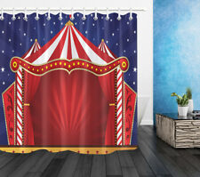 "60X72"" Circus Carnival Festival Background Waterproof Shower Curtain Set & Hooks"