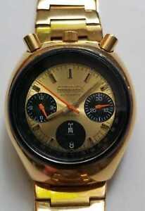 Citizen Bullhead Golden Brad Pitt  Chronograph Ref 8110a.Japan.1970s.Inmaculated