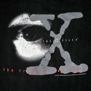 Vintage The X Files Mens XL Black 1996 Aliens Scully Mulder T Shirt