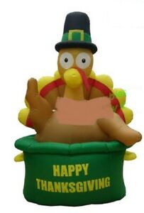 HALLOWEEN THANKSGIVING TURKEY IN POT  INFLATABLE AIRBLOWN  6 FT