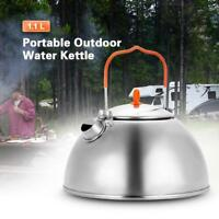 1.1L Portable Outdoor Picnic Tea Pot Camping Tea Coffee Kettle Hiking US E8K5
