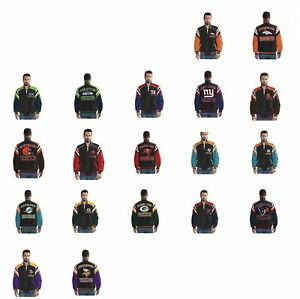 j NFL Leather Suede Jacket G-III Team Logo Full Zip Coat Mens Size