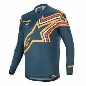 Motocross Jersey Shirt > Alpinestars Racer Braap Moisture-Wicking - Navy/Orange