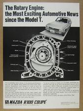 1971 Mazda R100 Coupe rotary engine cutaway diagram vintage print Ad