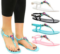 Ladies Womens Summer Beach Sliders Flip Flop Diamante Sandals Jelly Shoes Size