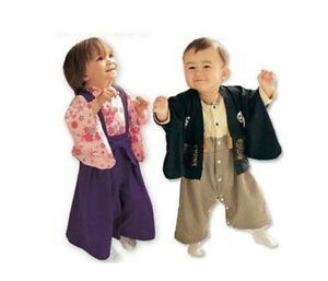 2pcs Kids Baby Boys Girls Kimono Shirt and Straps Pants Romper Japanese Costume