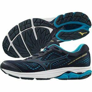 Mizuno WAVE RIDER 22 Blue Peacoat Primrose Yellow Running Trainers Men's UK 10.5