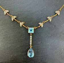 Blue Topaz Necklace Blue Topaz & Diamonds 375er Gold & 925er Silver
