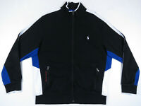 Ralph Lauren Polo Black White Pony Spell Out Full Zip Athletic Track Jacket XL