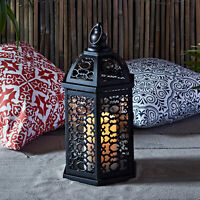 Black Metal Moroccan Battery Operated Outdoor LED Flameless Candle Patio Lantern