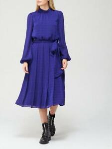 Ted Baker Satin Pleated Midi Dress - Blue SIze UK 14