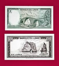 SCARCE LOT of TWO UNC  Lebanon Notes: 5 Livres (P-62) & 10 Livres 1986 (P-63)