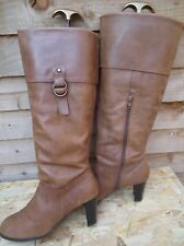 New Look Light Brown Real Leather Knee High Boots padded Lined Size UK7 EUR 40