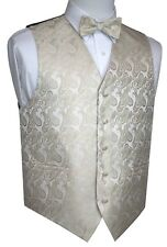 3c679e9fae5b MEN'S CHAMPAGNE PAISLEY FORMAL DRESS TUXEDO VEST & BOW-TIE WEDDING, PROM,  ...