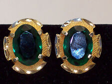 Vintage Big Faceted Green Rhinestone Clip Earrings With Rich Dark Goldtone Frame