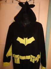 Batman Costume Cape Union Suit Utility Belt Adult Hooded Pajama 4-6 NO FEET 1pc