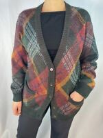 Missoni Donna Mohair Wool Colorful Plaid Button Pocket Cardigan Thick Sweater Vi