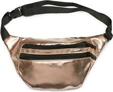 Gürteltasche im Metallic Look und Reißverschluss, Bauchtasche, Hüfttasche, Damen