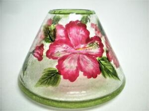 Yankee Candle Jar Shade Topper Hand Painted Flowers Clear Crackle Glass Mint
