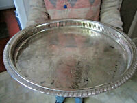 Old Large Circular Antique Silver Plate Sheffield Style Butlers Tray English