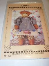 "ABBY 12"" STUFFED ANIMAL TEDDY BEAR CLOTHES TERRY DOLL TOY SEWING PATTERN GIRL"