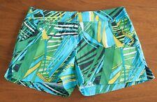 NWT Cache Women's Size 2 Blue & Green Tropical Palm Leaf Print Shorts