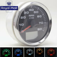 12V 24V 0~8000RPM Digital 8 Colors Backlight Car Boat Rev Counter Tachometer UK