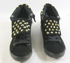 CUTE TO THE CORE BLACK FLAT LACE UP GOLD SPIKES SEXY ANKLE BOOT size 6  p